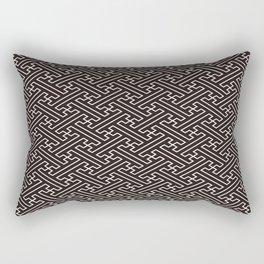 Black Auspicious Sayagata Japanese Kimono Pattern Rectangular Pillow