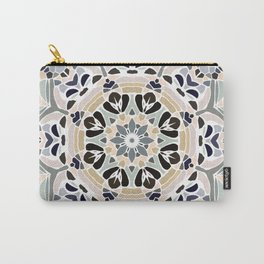 Floral Multicolored Mandala with Light Linen Texture Carry-All Pouch