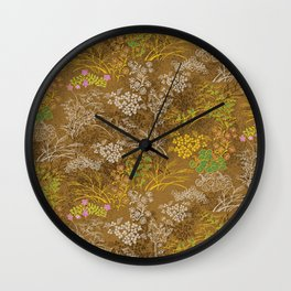 Golden floral japanese pattern Wall Clock
