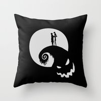 jack skellington Throw Pillows featuring Nightmare Jack Skellington by aleha