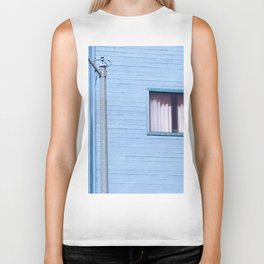 vintage blue wood building with window and electric pole Biker Tank