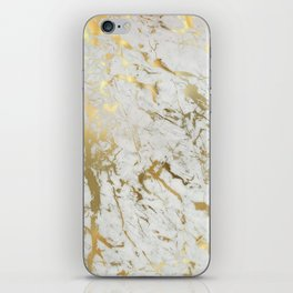 white and gold marble iPhone Skin