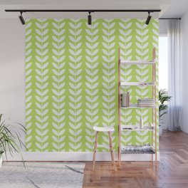 Lime Green and White Scandinavian leaves pattern Wall Mural