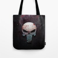 punisher Tote Bags featuring Punisher Skull  by Electra