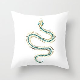 Snake Skeleton – Emerald & Gold Throw Pillow