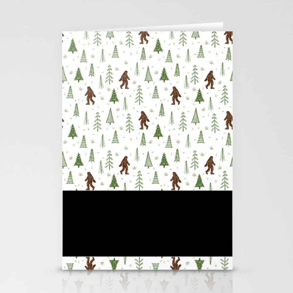 Trees + Yeti Pattern In Color Stationery Cards by Staceywalkeroldham CRD8597777