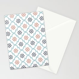 Red & Blue Mute Lattice Stationery Cards