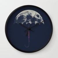 umbrella Wall Clocks featuring Space Umbrella by filiskun