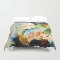"flora bowley Duvet Covers featuring ""Rainwash"" Original Painting by Flora Bowley by Flora Bowley"