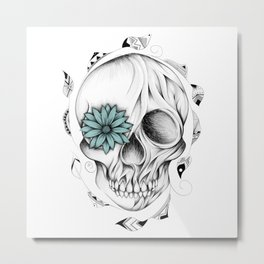 Poetic Wooden Skull Metal Print