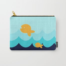 Beach Series Aqua- Gold Fish Animals in the deep See Carry-All Pouch