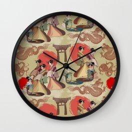 Geisha pattern Wall Clock