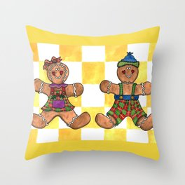 The Gingerbread Twins Throw Pillow