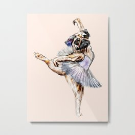 Pug Ballerina in Dog Ballet   Swan Lake  Metal Print