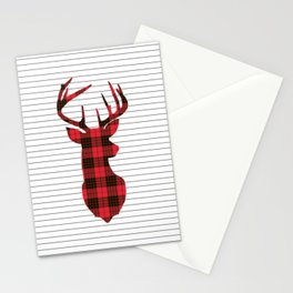 Plaid Deer Head on Minimal Stripes Stationery Cards