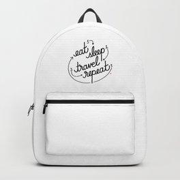 eat, sleep, travel, repeat   [black] Backpack