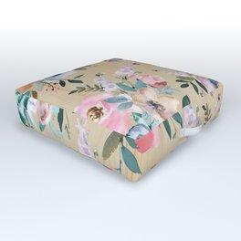 Pastel pink teal green watercolor pine wood floral Outdoor Floor Cushion