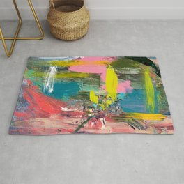 Collision - a bright abstract with pinks, greens, blues, and yellow Rug