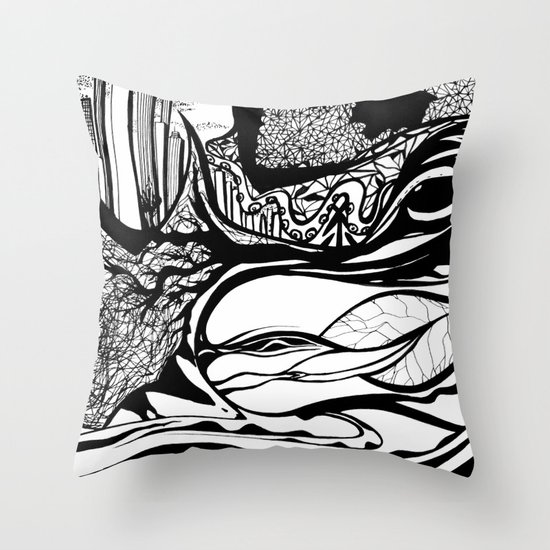 Jungle City Throw Pillow