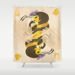 Print: Queen (Bee) of Clubs Shower Curtain