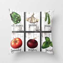 Rustic White Wood Herbs & Garden Vegetables Throw Pillow