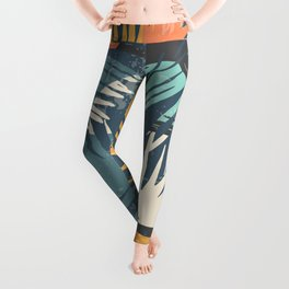 ABSTRACT TROPICAL SUNSET with palm leaves Leggings