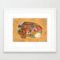 hippo Framed Art Prints featuring hippo by oxana zaika