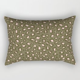 Leopard Print 2.0 - Olive Green Rectangular Pillow