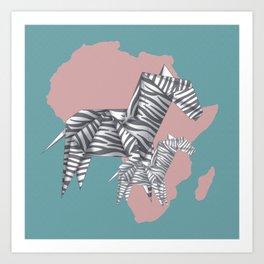 ZEBRAS (Origami animals) Art Print
