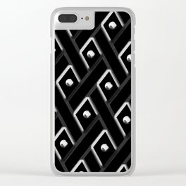 Black Diamond with White Studs Clear iPhone Case