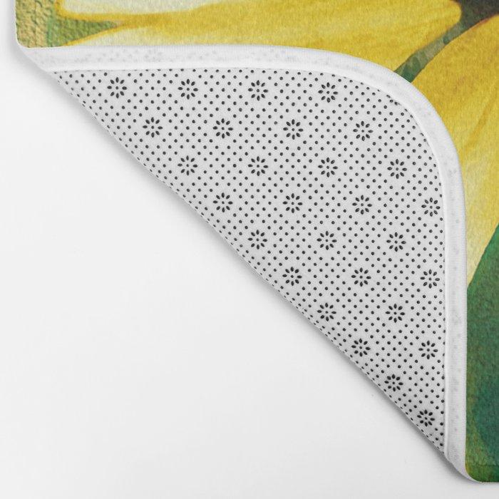 Vibrant Yellow Coneflower Bath Mat