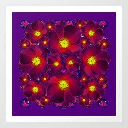 Purple Dark Burgundy Color Flower Pattern Art Print