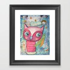 Owl, Bird and Fairy Framed Art Print