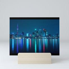 Toronto Canada Nighttime Skyline over Water Colored Mini Art Print
