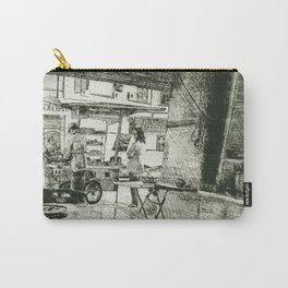 Malaysian Urban Street Scene Cultural Heritage Etching Drawing in Deep Green Carry-All Pouch
