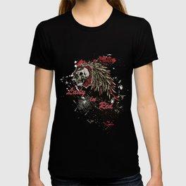 Lady In Red Flower Skull T-shirt