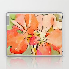 Orange Pélargonium Flowers with Painterly Water Color FX Laptop & iPad Skin
