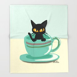 Cat in the cup Throw Blanket