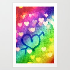 Graffiti Hearts  Art Print