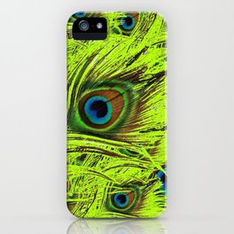 PURPLE ART NOUVEAU GREEN PEACOCK FEATHERS ABSTRACT ART iPhone Case