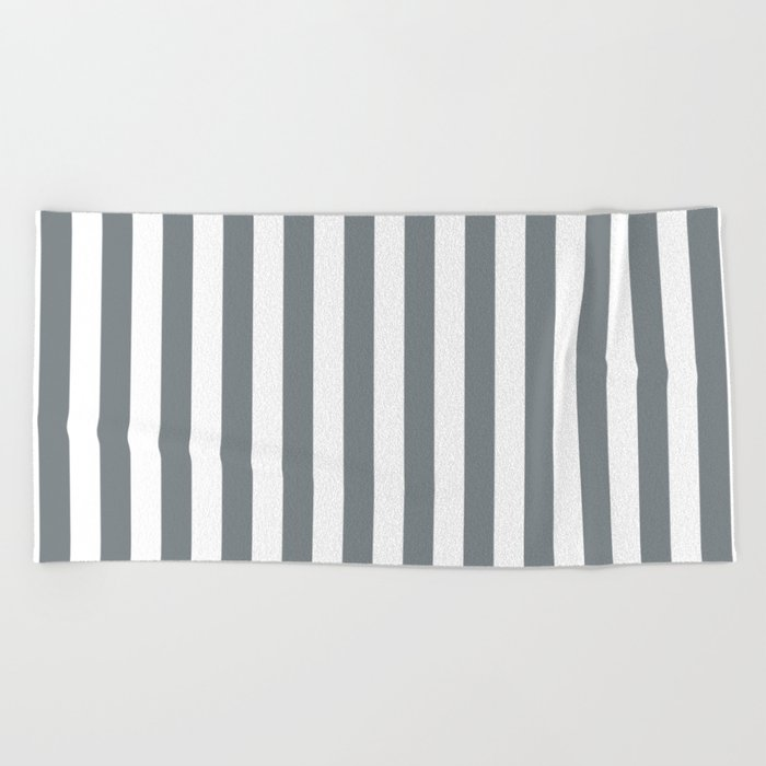 Large Smoke Grey And White Vertical Cabana Tent Stripes Beach Towel