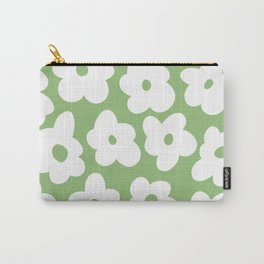 Psychedelic Sage Green 60's Flowers Carry-All Pouch