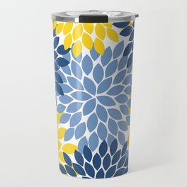 Blue Yellow Flower Burst Floral Pattern Travel Mug