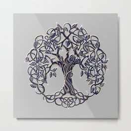 Tree of Life Silver Metal Print