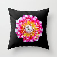 dahlia Throw Pillows featuring Dahlia by Trevor Jolley