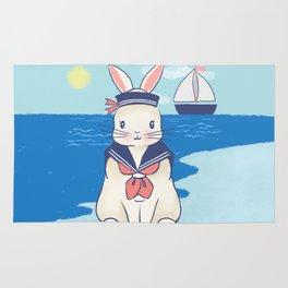 Sailor Bunny At The Beach Rug