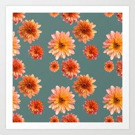 Coral Mum Floral Pattern - Scattered Flowers on Teal - Chrysanthemum Bloom Pattern - Real Flowers Art Print