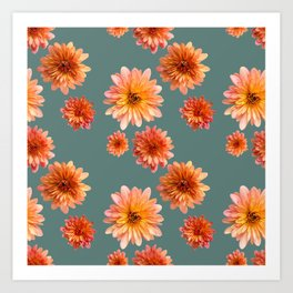 Coral Mum Floral Pattern - Scattered Flowers on Teal - Chrysanthemum Bloom Pattern - Real Flowers Art Print