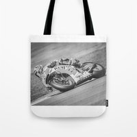 marc johns Tote Bags featuring Marc Marquez by Alex Malyon