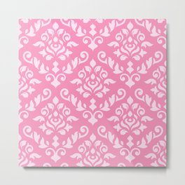 Damask Baroque Pattern Light on Dark Pink Metal Print